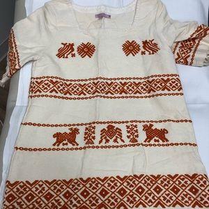 Calypso Berber print fringed shift dress